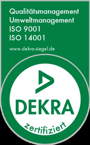 DEKRA zertifiziert ISO 9001 und ISO 14001